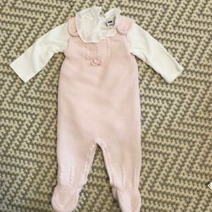 Janie & Jack knit overalls and white colored onsie